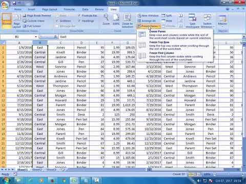 How to freeze rows or column in Microsoft Excel