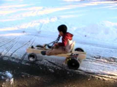 vijay singh, home made wooden 12v electric go kart