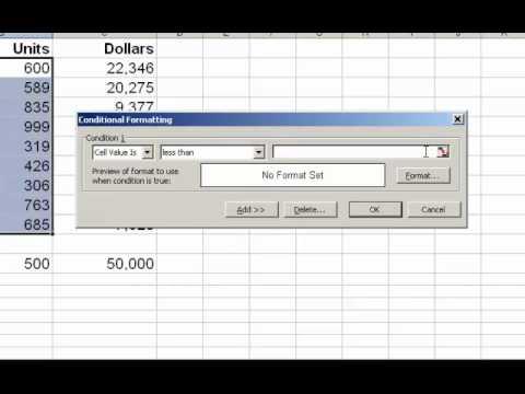 Excel 2003 Conditional Formatting