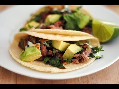 Carnitas Tacos Recipe | How To Make Carnitas Tacos w/ Cilantro Lime Sauce - Sweet y Salado