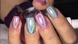 Holo nails - holo chrome nails pigment ( holographic nails )