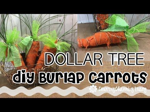 DOLLAR TREE DIY Burlap Carrots / Spring Carrots