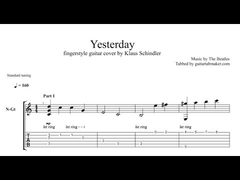 Yesterday TAB - easy fingerstyle guitar tab - PDF - Guitar Pro - Free download