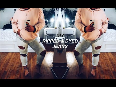 DIY LIGHT WASH & RIPPED JEANS \\ bleached jeans tutorial