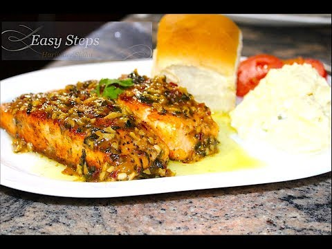Pan Fry Salmon with Lemon Butter Sauce | Pan Seared Salmon with Ginger Garlic Lemon Sauce