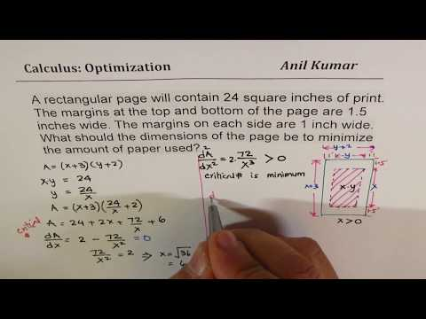 Optimization of Area of Window Paper with First and Second Derivative Test