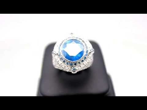 Men's 14K Solid White Gold Mens Diamond Pinky Ring with Blue Diamonds 7.04 Ctw