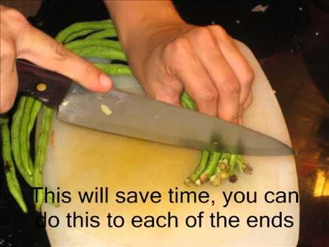 How to cut long green beans