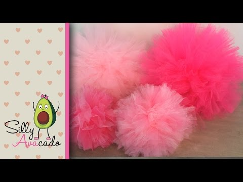 How to Make Tulle Pom Poms! Last Longer Than Tissue Paper Pom Poms! Easy & Fast DIY Puff Balls!