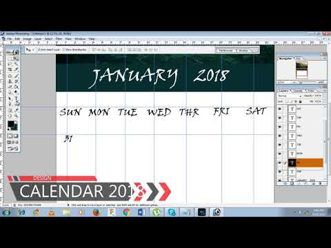 HOW TO MAKE SIMPLE CALENDAR 2018 IN PHOTOSHOP