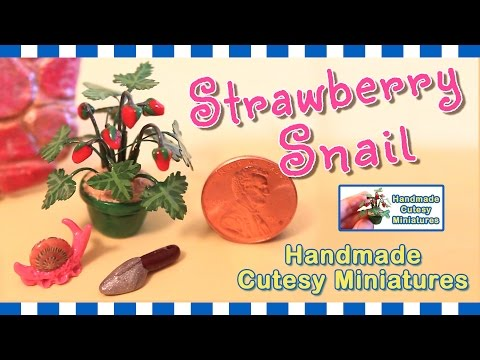 STRAWBERRY SNAIL - DOLLHOUSE MINIATURE, GARDEN SCENE, Polymer Clay & Mix Media - by Artist Pamela T.