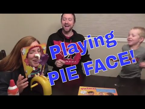 Playing Pie Face Game - Family Game Night