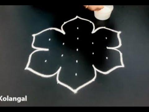 How to draw simple muggulu designs | easy 7X4 dots rangoli | simple kolam designs