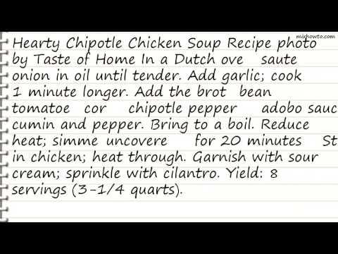Recipe Hearty Chipotle Chicken Soup Recipe