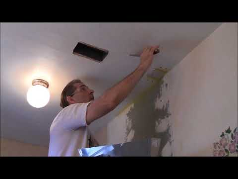 DIY Bathroom Remodel 2018 Part 7 Ceiling and Walls Tape Joints and Coat with Joint Compound