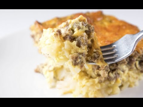 Overnight Cheesy Sausage and Hashbrown Breakfast Casserole Recipe