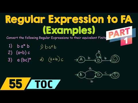 Conversion of Regular Expression to Finite Automata - Examples (Part 1)