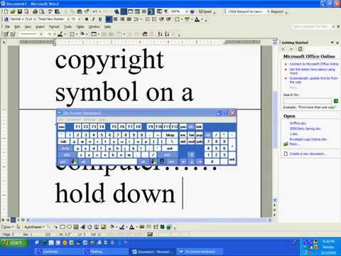 How to make the copyright symbol on a windows computer