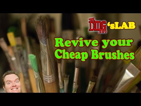 How to clean and revitalise old dried cheap acrylic paint brushes DMGLAB#008