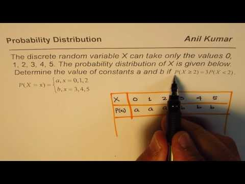Determine Random Variable Probabilities from Given Distribution Conditions IB SL Test