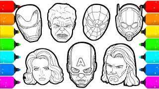 Avengers members Superheroes Faces Drawing and Coloring