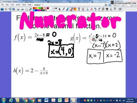 Find x-intercepts of rational functions