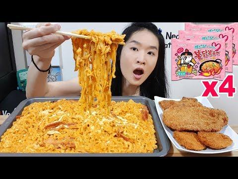 CREAMY & CHEESY!! Carbonara Fire Noodles w Alfredo Cream Cheese, Fried Chicken | Spicy Ramen Mukbang
