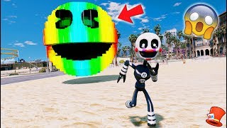 CAN ADVENTURE PUPPET ESCAPE EVIL GIANT RAINBOW PACMAN? (GTA 5 Mods For Kids FNAF RedHatter)