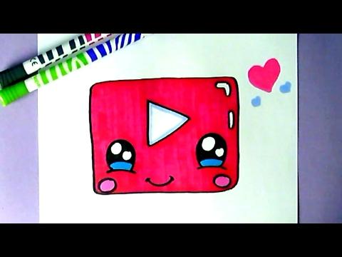 How To Draw Cute Youtube Icon Kawaii Youtube Logo 63qh3