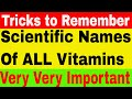 Scientific Names of all Vitamins | Trick to Remember Based on RAT Story | Part - 1