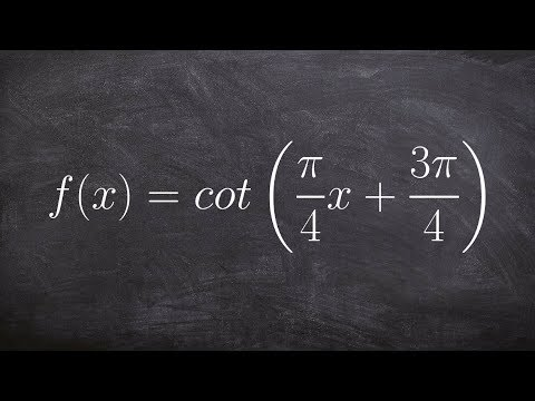 Graph the Cotangent Function with a Phase Shift and Change in Period