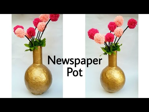 Newspaper Pot || Flower Vase || Craft out of waste || The Blue Sea Art