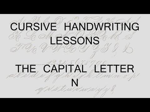 Cursive lesson 44 Writing a capital letter N handwriting penmanship calligraphy