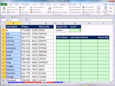 Excel 2010 Magic Trick 798: Partial Text Lookup Formula To Return Multiple E-mail Records