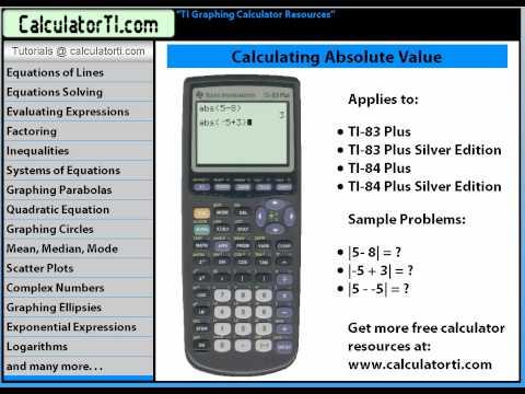 TI Tutorials, Absolute Value, TI-83 Plus and TI-84 Plus Calculators