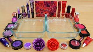 Purple vs Red Rose - Mixing Makeup Eyeshadow Into Slime ASMR 249 Satisfying Slime Video