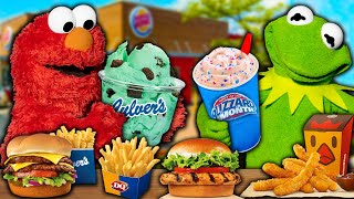 Kermit the Frog and Elmo's Drive Thru Food Review! (Burger King, Dairy Queen & Culvers)