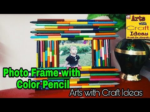 How to Craft Colour Pencil Photo-Frame:Arts With Craft Ideas