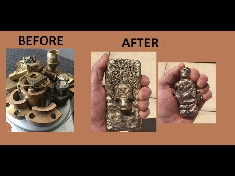 HOW TO CAST MOLTEN BRASS IN SAND MOLDS - SCRAP METAL CASTING