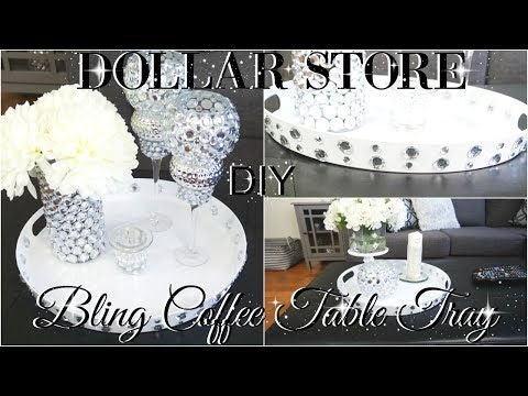 DIY DOLLAR STORE BLING COFFEE TABLE TRAY WITH 3 DECOR STYLING IDEAS PETALISBLESS
