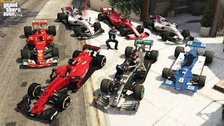 GTA 5 - Stealing FORMULA 1 RACE Cars with Franklin! (Real Life Cars #92)