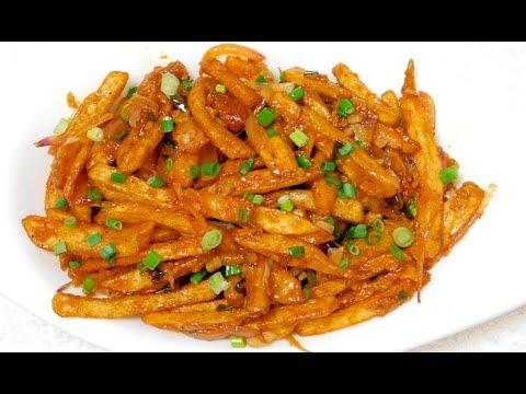 Chilli Potato Recipe   How To Make Potato Chilli At Home   ചില്ലി പൊട്ടറ്റോ