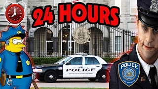 (SECRET FILES FOUND) 24 HOUR OVERNIGHT CHALLENGE AT POLICE STATION | UNDERGROUND JAIL SHOWERS FOUND