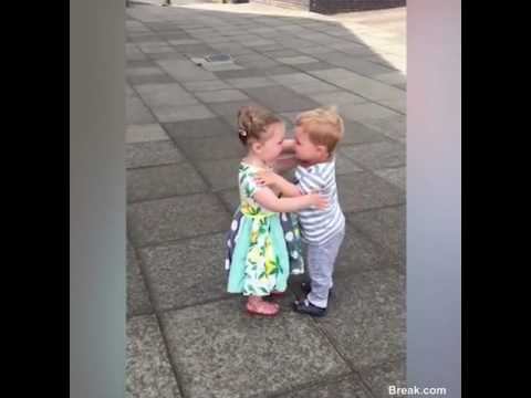 Two Adorable 3 Year-Old Kids Gets Their First Kiss