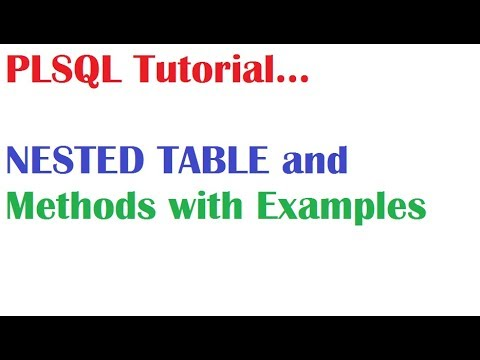 PL/SQL Tutorial: What is PL SQL Nested Table Collections