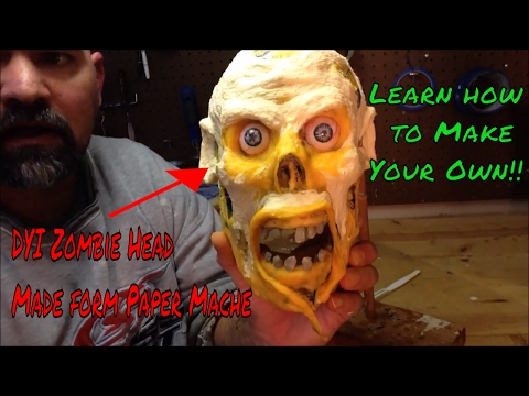 Paper mache skull turned to a zombie head DIY Zombie head