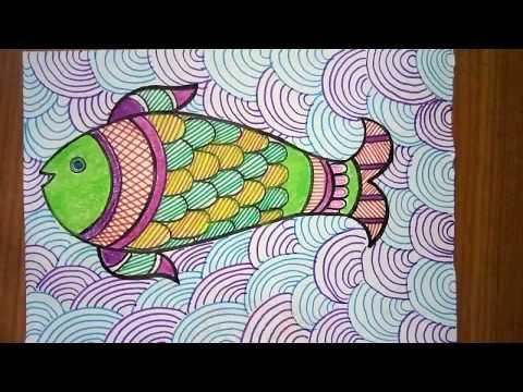 Fish Madhubani Painting ( Coloured )