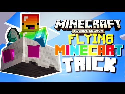 How to FLY IN A MINECART in Minecraft PE (Command blocks)