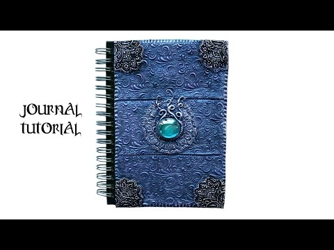 Polymer Clay Notebook Cover - Purple & Blue Easy Ornate Design Tutorial - DIY Journal/Book Cover