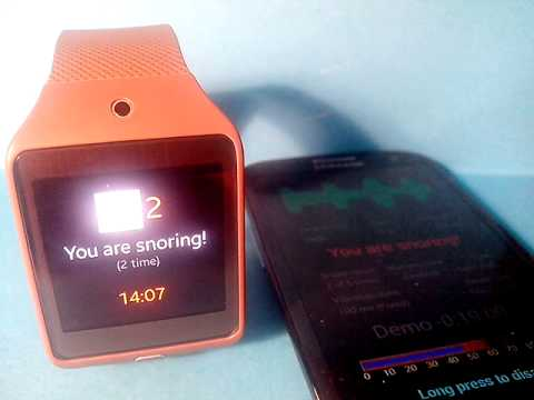 Test Snorek with this snoring man, alone or paired with a Samsung Gear 2 Smartwatch